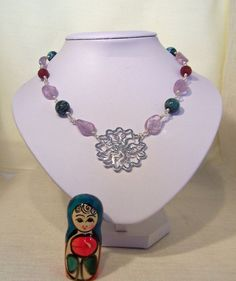 Ruby Chrysocolla and Fluorite Necklace Pendant by evecollection, $32.00