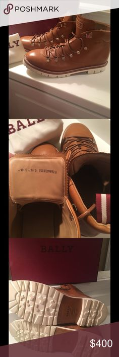 Bally Men's JC Hiker Boot Size 11.5 Paid $750 WORN ONCE PERFECT CONDITION The brown JC hiking boot is a reinvention of a classic Bally style made famous by the first Everest pioneers. Expertly hand-worked in calf leather, this contemporary version is styled with an urbane aesthetic courtesy of its bold stitched upper and contrast rubber lug sole. Inside, the JC is lined in oak-tone leather and padded at the collar for all-day comfort, even during the longest city expeditions.ace-up style…