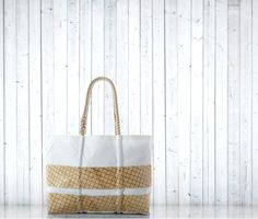 Large Blonde Kevlar Stripe Tote handcrafted from recycled sails.