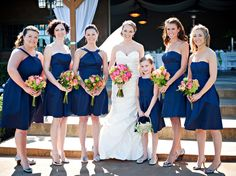 Summery bridesmaid dresses with different necklines. Photo by Barbie Hull.