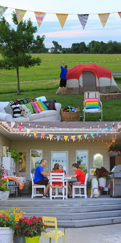 "Get the whole family together for a DIY backyard camping ""trip"" by our partner Meg Duerksen. Serve up a few Coke floats and mini snacks and treats for more family fun!"