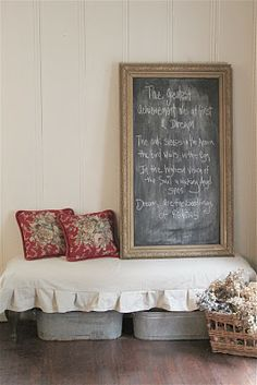 like the old washtubs as under the bench storage ~ nice little sitting area ~ love the chalkboard ~ from French Country Cottage blogspot