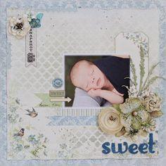 Baby layout using Blue Fern Studios Chipboard Seasonal Wildflowers.