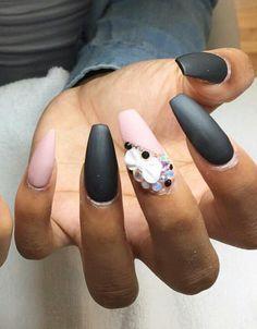 Pink black matte nails