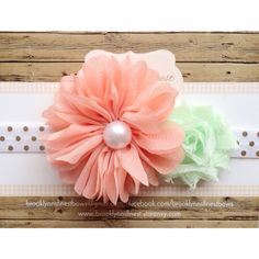 Coral and mint headband, baby headband, hair bow, headband, chiffon flower bow, photo prop, newborn photo prop on Etsy, $8.95