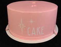 Vintage 50s 60s Metal Pink White Starburst Cake Carrier Holder Server Saver