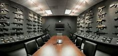 The Heckler & Koch Firearms Grey Room. Quite possibly the best conference room in the history of mankind. Hidden Gun Storage, Weapon Storage, Hidden Gun Rooms, Secret Gun Storage, Ammo Storage, Arquitectura Wallpaper, Casa Bunker, Gun Safe Room, By Any Means Necessary