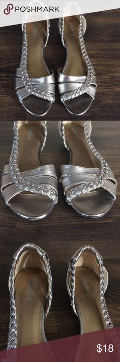 "Seychelles Size 8.5 Braided Silver Open Toe Sandal This pair of sandals is up for sale! Good condition! Cute!  ❤ Shiny silver color ❤ About 1.0"" heel ❤ Cute design, easy fashion  ❤ Size Measured in Pictures  ✅ Bundle up and save ✅ 🎉 Pair with our jewelry or purses 🎉 Seychelles Shoes Sandals"