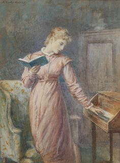 Books and Art: A lady reading while playing the spinet.Arthur...