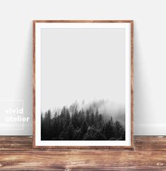 Forest Print Art, Black and White Nature Minimalist Print, Forest Photogtaphy, Printable Forest Wall Art, Minimalist Poster, Nature Art