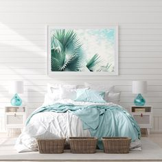 Fronds – Palm Leaf Modern Tropical Wall Decor This palm leaf print is perfect for a coastal farmhouse or modern tropical decor theme! I'd love this for my beach house decor. Tropical Beach Houses, Tropical Wall Decor, Tropical Bedrooms, Modern Tropical, Coastal Bedrooms, Modern Coastal, Tropical Master Bedroom, Modern Beach Decor, Coastal Wall Decor