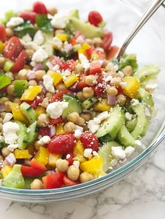 Easy Gluten-free Mediterranean Chickpea Salad 21 Day Fix Weight Watchers Mindset - Confessions of a Fit Foodie Healthy Potluck, Potluck Salad, Potluck Recipes, Healthy Recipes, Summer Potluck, Healthy Summer, Healthy Meals, Free Recipes, Weight Watchers Salad