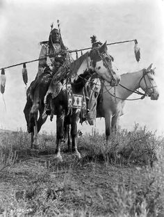 Crow Indians horseback. No date. Photographer unidentified. (B/W copy)