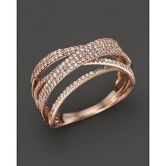 Diamond Multi Row Crossover Band in 14K Rose Gold, .50 ct. t.w.