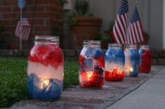 DIY: Patriotic Mason Jar Luminaries ~ LOVE these and great for all patriotic events. I would love to see these at night time, marking the 'walkway'...nice!