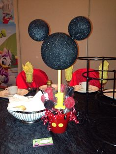 Mickey Mouse custom center piece with chocolate sucker favors