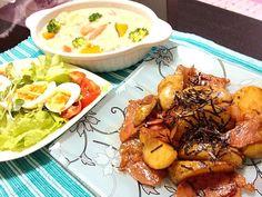 すずらんさん、早速作ってみました(*>∀<*)ゞ✨✨ 何コレっ!うまっ❤って叫んじゃいました(*´艸`*)笑✨✨ これから我が家のジャーマンポテトは、これに決定です(≧з≦)❤ - 90件のもぐもぐ - suzuranranranさんの、和風ジャーマンポテト♪、野菜たっぷりシチュー、卵サラダ❤ by momoyuko