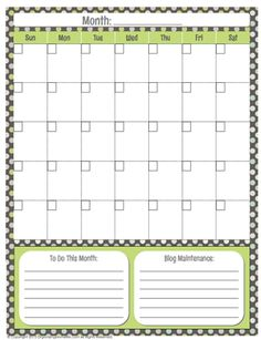Generic Calendar Printable