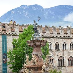 Neptune's Fountain in the Cathedral Square in Trento, Trentino-Alto Adige, Italy  #Travel #Italy