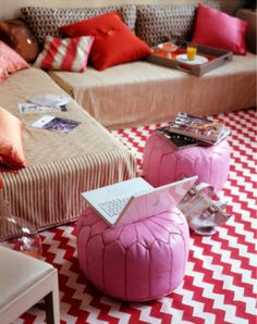 den inspiration (I'm considering it my office, so pink goes... right?!) Domino