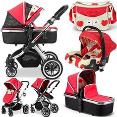 iVogue - Apple Luxury 3in1 Pram Stroller Travel System By iSafe + CarSeat+Changing Bag