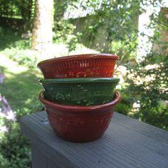 Three Vintage Pottery Custard Cups/ Bowls  Rust by SimplySuzula
