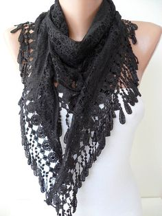 Laced Fabric  Black Scarf with Special Black Trim by SwedishShop, $17.90