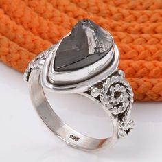 HOT SELLING 925 STERLING SILVER SHUNGHITE FANCY RING 4.94g DJR5067 #Handmade #Ring