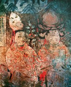 """Dunhuang Budist Mağarasındaki Türk Uygur Bey ve Hanım. 4.yy. Sol taraftaki yazıt, Uygur Harfleri ile yazılmış. Çiftin el şekilleri, Budist Kültürde """"Hand Mudra"""" adı verilen el işaretleridir. Tefekkür ve Dua amacıyla yapılır. Nuray Bilgili. Dunhuang, Eastern Philosophy, Painting, Painting Art, Paintings, Painted Canvas, Drawings"""