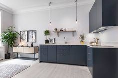 Cozy home with a blue living kitchen