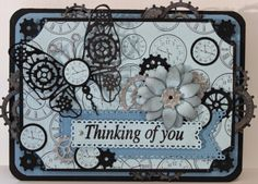 #cheeryld This week I made a card with a little Steampunk influence. Dies used: Clocks Embossing Plate - E171; Black Eyed Susan Strip - B338; Gears (Set of 9) - B340; Gears Butterfly - B367; Horizon Fishtail Banners (3 Dies) - DL278; Fancy Corner Cuts # 3 - B430; Coved Rectangle - XM-10 http://www.cheerylynndesigns.com