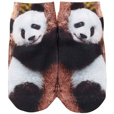 Free Press No Show Sublimation Low-Cut Socks ($4.97) ❤ liked on Polyvore featuring intimates, hosiery, socks, climbing panda, print socks, panda socks, patterned socks, low cut socks and patterned hosiery