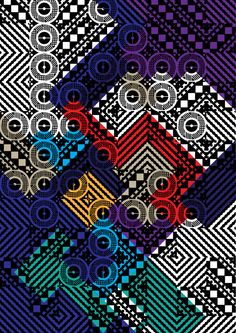 each pattern block is associated with a letter, so together they make an intricate pattern. and lovely color combo too. Array by YouWorkForThem , via Behance