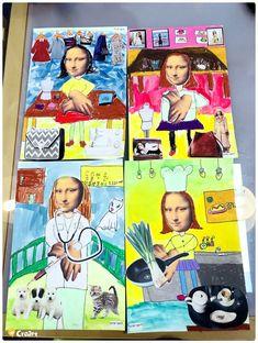 Kinder (초등) 수업 - 모나리자 발상표현 [시흥시 정왕동 배곧 미술학원 - 창의미술 크리아트] : 네이버 블로그 Art Books For Kids, Art For Kids, Crafts For Kids, School Murals, Art School, Art Therapy Activities, Toddler Activities, Drawing For Kids, Painting For Kids