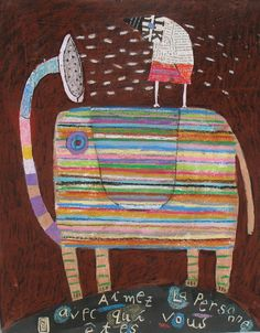 Illustration - Nathaniel Mather I love his artwork Image Elephant, Elephant Love, Elephant Art, Elephant Shower, Elephant Illustration, Love Illustration, Illustration Animals, Naive Art, Outsider Art