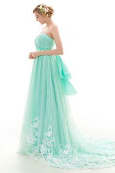 LD4027 ビーズ ミントグリーン カラードレス Dressy Dresses, Prom Dresses Blue, Colored Wedding Dresses, Sexy Dresses, Strapless Dress Formal, Nice Dresses, Evening Dresses, Beautiful Long Dresses, Fairy Dress