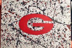 University of Georgia Splatter Painting by HoneyBeesArt on Etsy