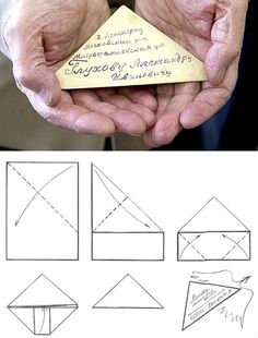 During the Second World War, a shortage of postcards and envelopes on the front meant that Russian soldiers developed their own self-contained triangular letter. They were never sealed, as they had to pass through censors before being delivered to their destination.