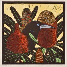 Leslie Van Der Sluys, Crow and Banksia Serata, Hand-coloured linocut Plant Painting, Stencil Painting, Painting & Drawing, Art And Illustration, Art Floral, Linocut Prints, Art Prints, Kunst Der Aborigines, Watercolor Projects