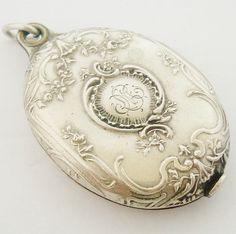 Antique French art nouveau silver plated slide locket