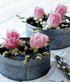Blumenpool: kurze Weidenzweige mit puscheligen Kätzchen als Gitter auf eine Zinkdose legen und nun in die Lücken einige bunte Tulpen stecken - fertig ist die Blumendeko.