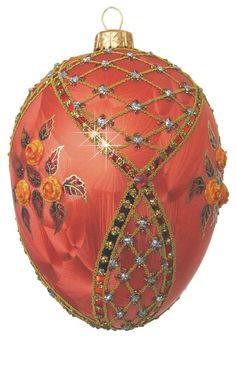 Edward Bar Copper Rose Egg glass Christmas ornament