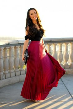 Beautiful Long Cherry Red Pleated Skirt-Gorgeous Outfit Ideas
