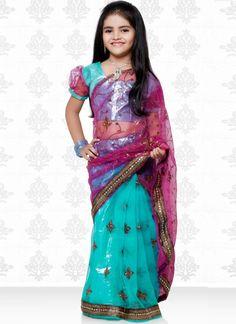 Deep Turquoise Pink Kids Traditional Saree