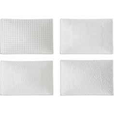 """Set of 4 Rectangular 6""""x4"""" Dishes in Appetizer, Dessert Plates 