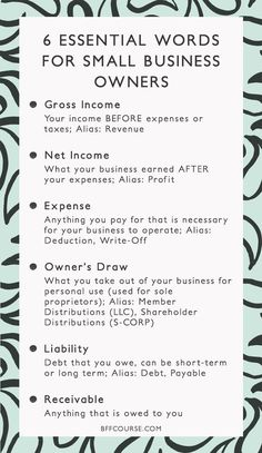6 Essential Words to Understanding Your Business Finances - Gross Income, Net Income, Small Business, Finance, Accounting. Business Coach, Business Planner, Business Advice, Business School, Finance Business, Salon Business, Craft Business, Startup Business Plan, Restaurant Business Plan