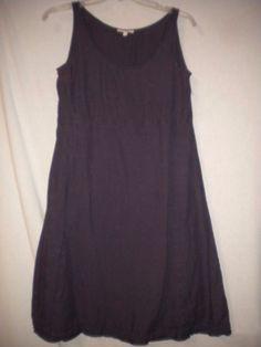 Eileen Fisher Size XS A Line Trim Hem Purple Linen Womens Dress Sundress #EileenFisher #Sundress