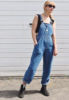 Vintage mid wash blue denim dungarees overalls by Revolt with high waist, adjustable metal clip straps and multiple pockets, Waist Hips Leg. Denim Shorts Outfit, Ripped Jeans Outfit, Jean Jacket Outfits, Denim Dungarees, Cropped Denim Jacket, Ripped Denim, Denim Outfits, Denim Jackets, Trendy Swimwear