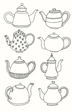 Tea pots colouring sheets