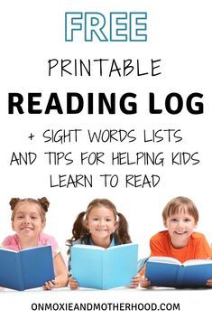 FREE Printable Reading Log and FREE Printable Sight Words Lists + Tips for Helping Kindergartener Learn to Read Reading At Home, Reading Logs, Close Reading, Quotes For Students, Quotes For Kids, Teaching Reading, Reading Resources, Kindergarten Reading, Reading Strategies
